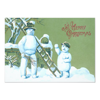 Snowman Father And Son Snow Ladder Snowball Card