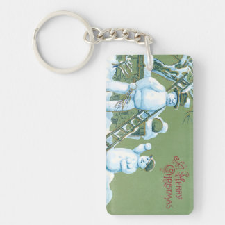 Snowman Father And Son Snow Ladder Snowball Keychain