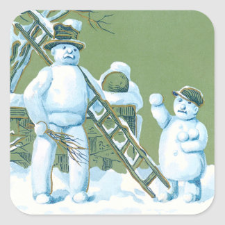 Snowman Father And Son Snow Ladder Snowball Square Sticker