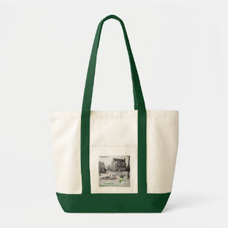 Snowman finds Reindeer's Car in snow old photo Tote Bag