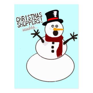 Snowman Flees Christmas Shoppers Postcard