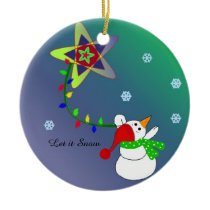 Snowman Flying in the Sky Ceramic Ornament