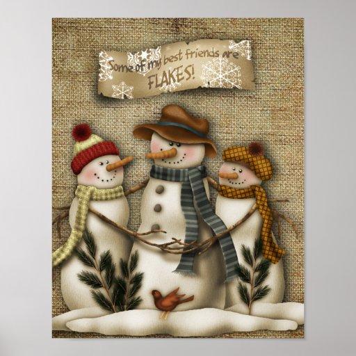 Snowman friends print