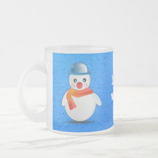 snowman frosted glass coffee mug