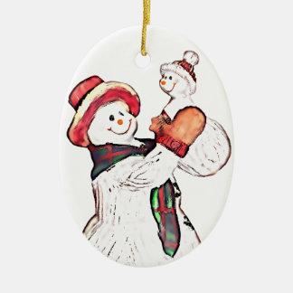 Snowman Fun Ceramic Ornament
