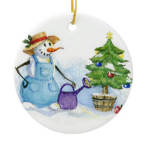Snowman-gardener Ceramic Ornament