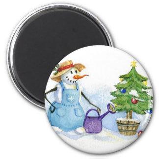 Snowman-gardener Refrigerator Magnets