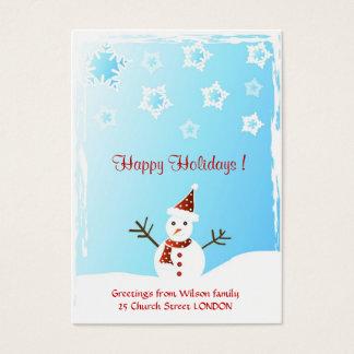 Snowman - Gift tag card