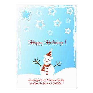 Snowman - Gift tag card Large Business Cards (Pack Of 100)