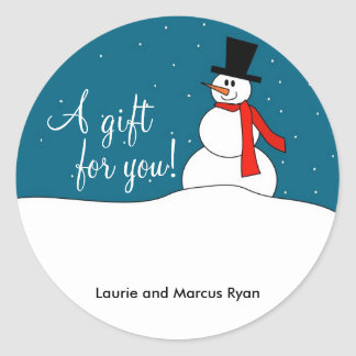 Snowman Gift Tags Classic Round Sticker