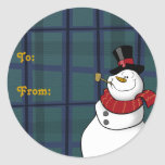 Snowman Gift Tags Round Stickers
