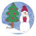 Snowman Gifttag Round Sticker