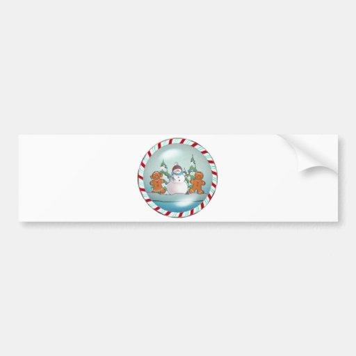 SNOWMAN & GINGERBREAD KIDS by SHARON SHARPE Bumper Stickers