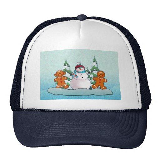 SNOWMAN & GINGERBREAD KIDS by SHARON SHARPE Trucker Hats