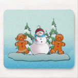 SNOWMAN & GINGERBREAD KIDS by SHARON SHARPE Mouse Pad
