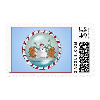 SNOWMAN & GINGERBREAD KIDS by SHARON SHARPE Postage Stamp