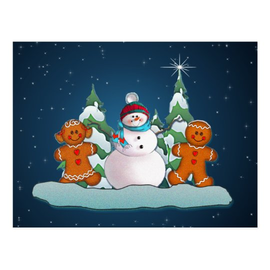 SNOWMAN & GINGERBREAD KIDS by SHARON SHARPE Postcard