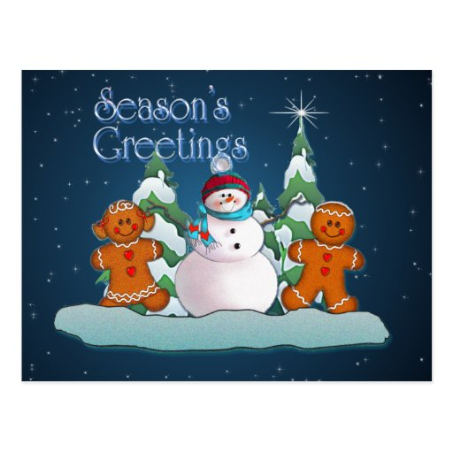 SNOWMAN & GINGERBREAD KIDS by SHARON SHARPE Post Cards