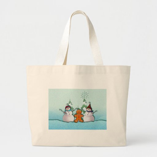 SNOWMAN & GINGERBREAD MAN by SHARON SHARPE Canvas Bags