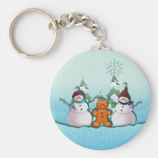 SNOWMAN & GINGERBREAD MAN by SHARON SHARPE Basic Round Button Keychain