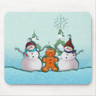 SNOWMAN & GINGERBREAD MAN by SHARON SHARPE Mouse Pad