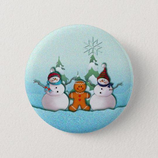 SNOWMAN & GINGERBREAD MAN by SHARON SHARPE Pinback Button