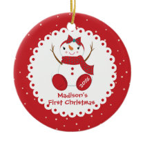 Snowman Girl Personalized Baby's First Christmas Ceramic Ornament