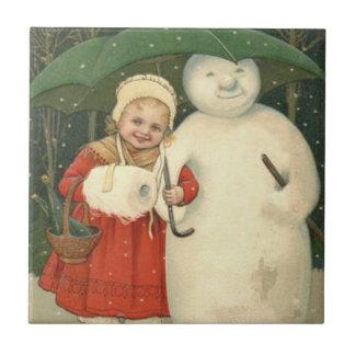 Snowman Girl Umbrella Snowfall Ceramic Tile