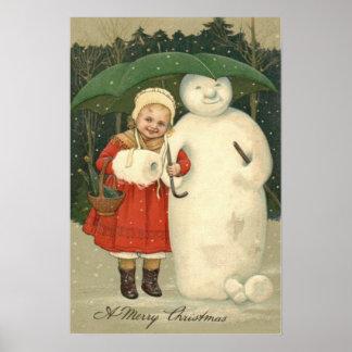 Snowman Girl Umbrella Snowfall Poster