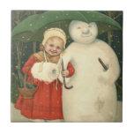 Snowman Girl Umbrella Snowfall Small Square Tile