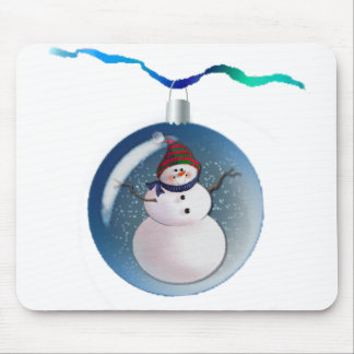 SNOWMAN GLOBES by SHARON SHARPE Mouse Mat