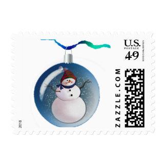 SNOWMAN GLOBES by SHARON SHARPE Postage Stamp