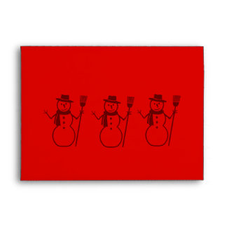 snowman graphic design red christmas envelope