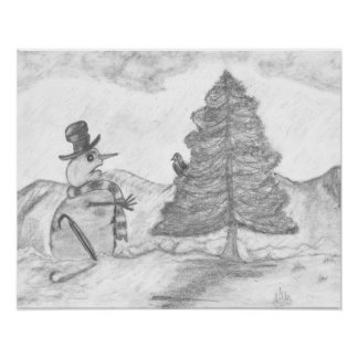 Snowman Grayscale Pencil drawing christmas scene Poster