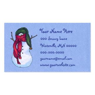Snowman Green Hat Blue Business Card Templates