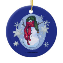 Snowman Green Hat Blue Ceramic Ornament