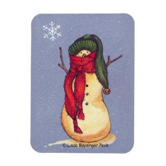 Snowman Green Hat Rectangular Photo Magnet