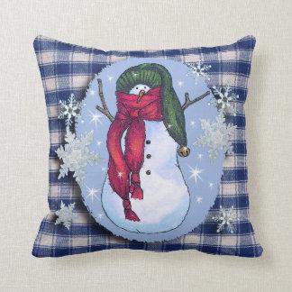 Snowman Green Hat Throw Pillow