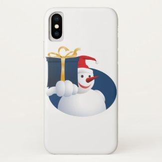 Snowman hands over gift...