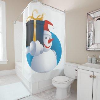 Snowman hands over gift... shower curtain