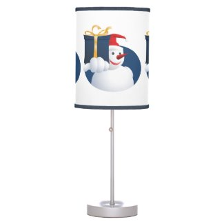 Snowman hands over gift... table lamp