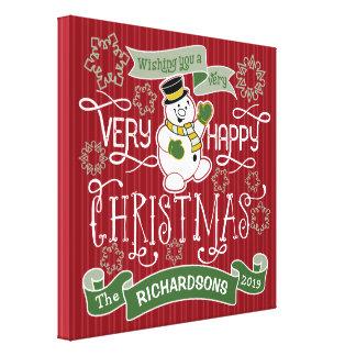 Snowman Happy Christmas Typography Custom Banner Canvas Print
