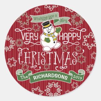 Snowman Happy Christmas Typography Custom Banner Classic Round Sticker