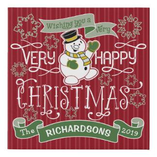 Snowman Happy Christmas Typography Custom Banner Faux Canvas Print