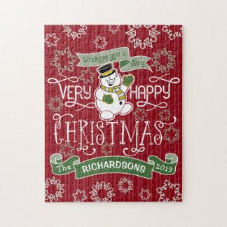 Snowman Happy Christmas Typography Custom Banner Jigsaw Puzzle