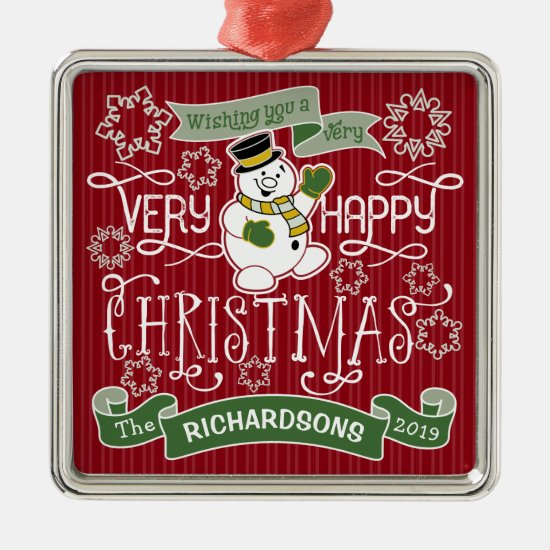 Snowman Happy Christmas Typography Custom Banner Metal Ornament