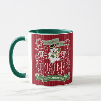 Snowman Happy Christmas Typography Custom Banner Mug