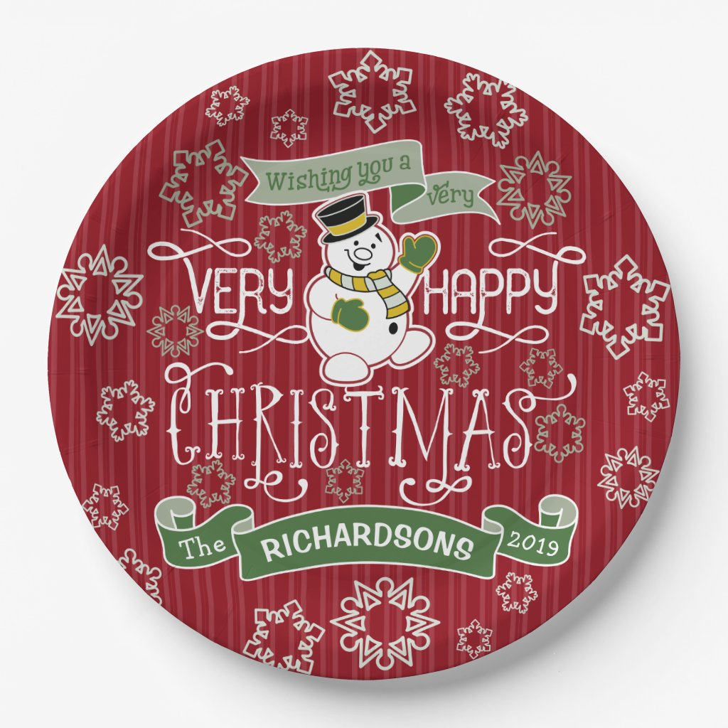 Snowman Happy Christmas Typography Custom Banner