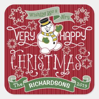 Snowman Happy Christmas Typography Custom Banner Square Sticker
