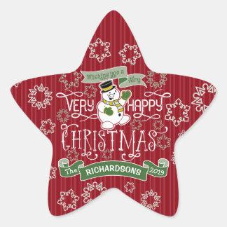 Snowman Happy Christmas Typography Custom Banner Star Sticker